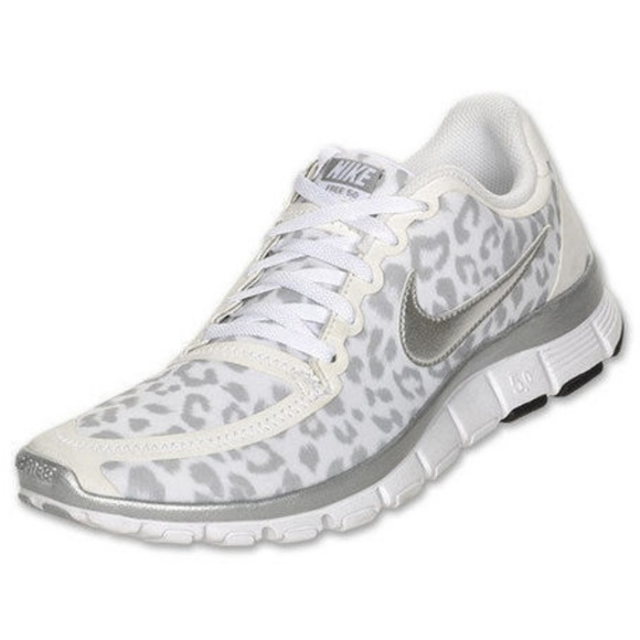 924ca5236c3 Nike Free 5.0 White Leopard Print Running Shoes